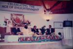 Dome Inauguration, October 1985. L-R: Dr. Neil Patterson, Brahmachari Nandkishore, Dr. Bevan Morris, Walter Reifslager