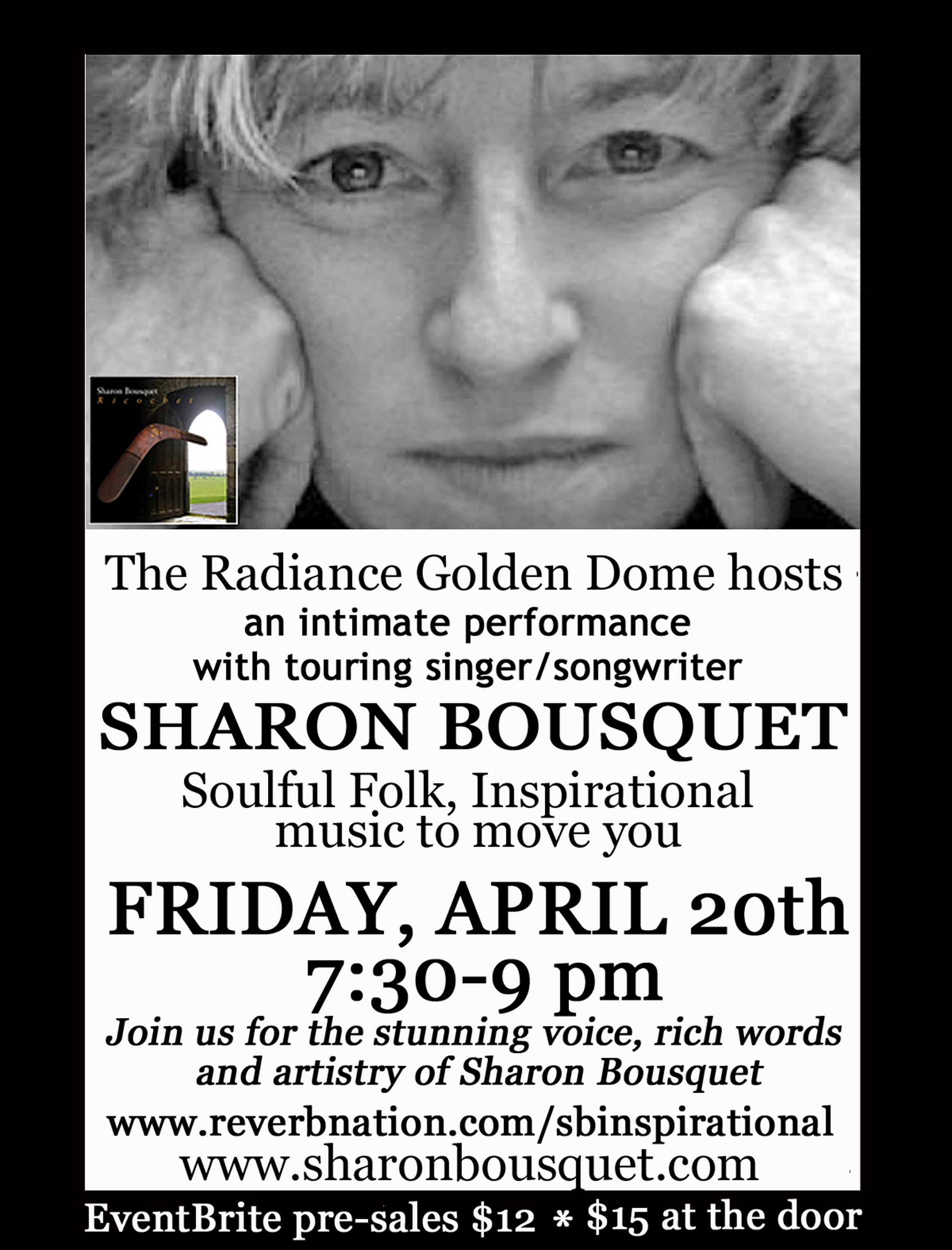 Sharon Bousquet concert at Radiance Dome, April 20 2018 7:30 PM