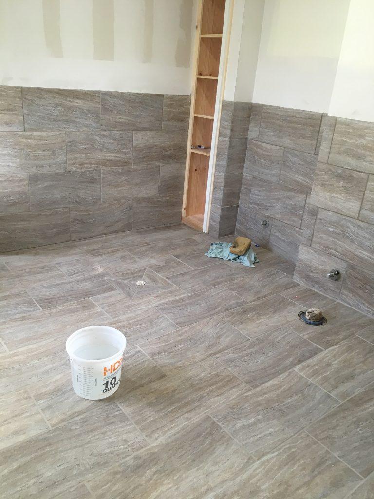 Men's restroom, new tile